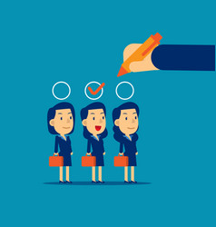 Manager hand selection employee appropriate vector