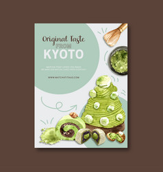 Matcha sweet poster design with cream cake mochi vector
