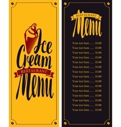 Menu for cafe with ice cream vector