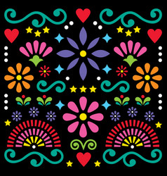 Mexican folk art pattern colorful design vector