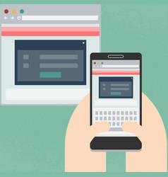mobile website on display vector image