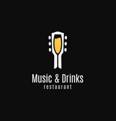 music and drinks logo round linear guitar vector image