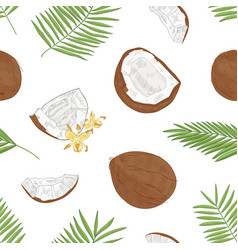 natural seamless pattern with exotic fresh vector image
