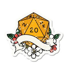 natural twenty d20 dice roll grunge sticker vector image