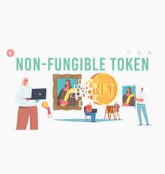 Non fungible token landing page template vector