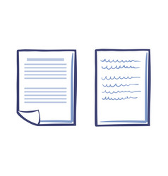 office paper icons isolated document list vector image
