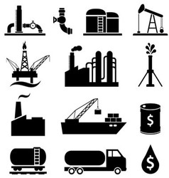 Oil gas and petroleum icons vector image vector image