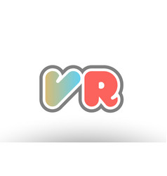 Orange pastel blue alphabet letter vr v r logo vector