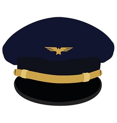 Pilot cap with badge vector image