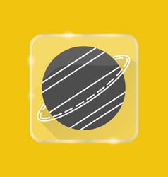 planet saturn silhouette icon in flat style on vector image