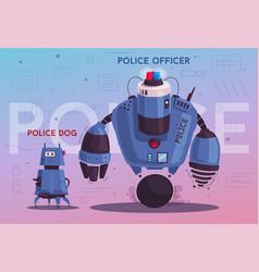 Police drone robot patrol cop vector