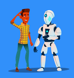 robot talking with friend man isolated vector image