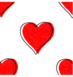 Seamless pattern red heart with contour vector