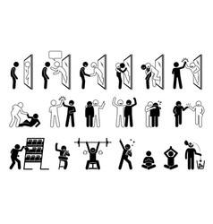 Self help metaphor in stick figure pictogram vector