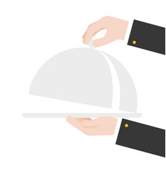 Serving hand open cloche flat design vector