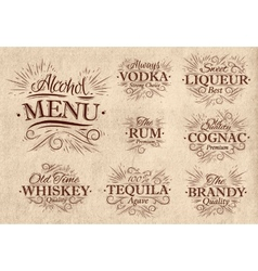 Set alcohol menu retro vector