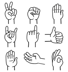 set hands and gestures vector image