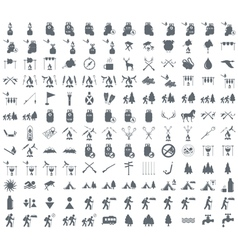 Set of camping equipment icon vector