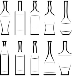 set of stencil of bottles vector image