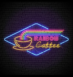 Shining and glowing rainbow neon coffee sign in vector