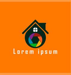 shutter photo house logo template studio house vector image