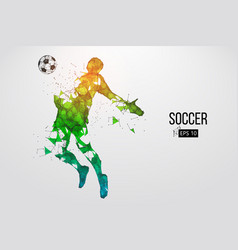silhouette a football player from particles vector image