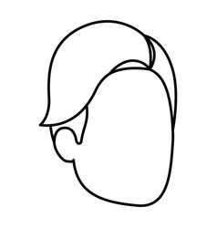 Sketch silhouette of man faceless with hair side vector
