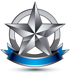 Sophisticated emblem with silver glossy star and vector image