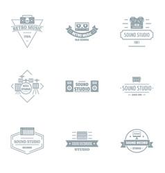 sound studio logo set simple style vector image