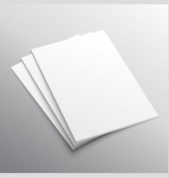Stack three a4 paper mockup display vector