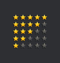 Star ranking rating symbols in dark theme vector