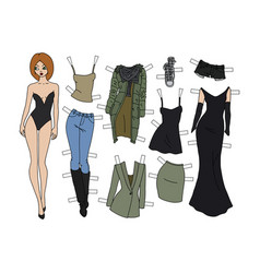 The redhead dressing paper doll vector