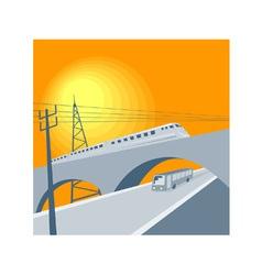 Train Bus Viaduct Retro vector image