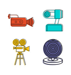 Videocamera icon set color outline style vector