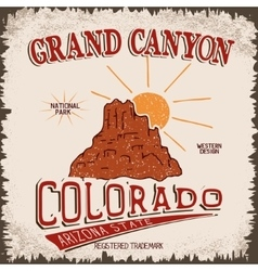 Vintage label with canyon and sun vector