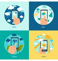 Weather smart phone set vector image