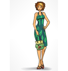 Woman in beach dress with bag vector