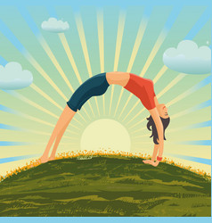 young girl is making exercise on nature woman vector image