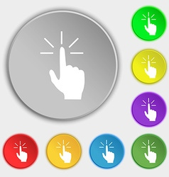 Click here hand icon sign Symbols on eight flat vector image