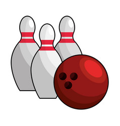 color bowling pin ball icon vector image vector image