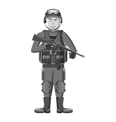 Soldier with weapons icon gray monochrome style vector image vector image