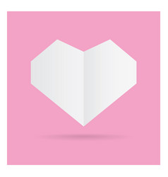 valentine love white heart paper craft in frame vector image
