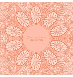 Ornamental round lace frame Background for vector image vector image