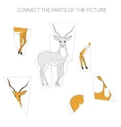 Puzzle game for children gazelle vector image