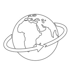 flight around world icon outline style vector image