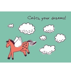 Horse dreams and clouds card vector image vector image