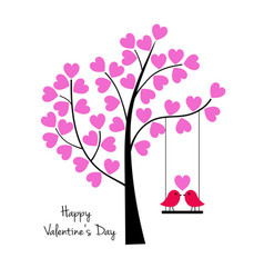 Valentines day birds on swing with tree vector