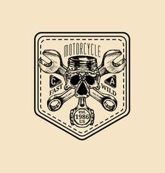 vintage motorcycle repair logo retro vector image