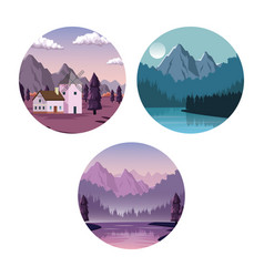 white background with set of landscapes in round vector image vector image
