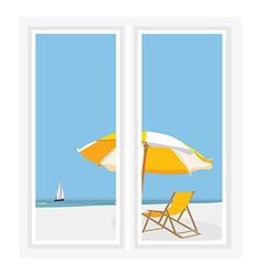 Window seascape vector image